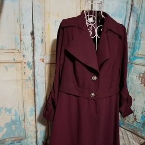 Venus NWOT Burgundy Blazer With Ruffled Bottom